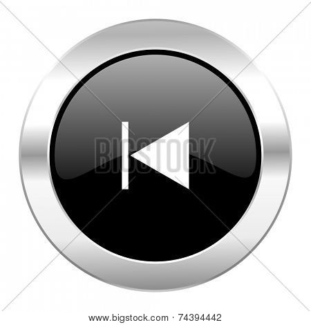 prev black circle glossy chrome icon isolated