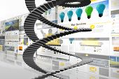 Winding stairs against screen collage showing business advertisement poster