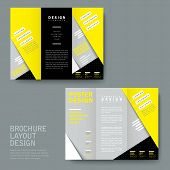 modern paper texture tri-fold template in yellow and grey poster