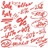 Set of handwritten words sale special offer and numerals 0-9% - calligraphic Elements for fashion or retail Design in grunge style. poster