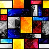 Seamless background pattern. Geometric pattern in kubism style with grunge effects. poster