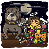 A vector illustration of a little girl out trick-or-treating with her dog named Trick. poster