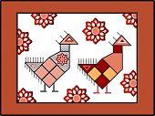 Handcrafted Nordic bird  poster