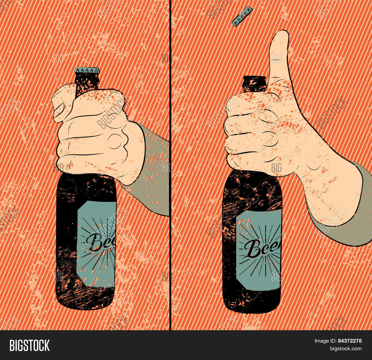 Vintage Grunge Style Beer Poster Humorous Instruction For Opening The A Bottle Of
