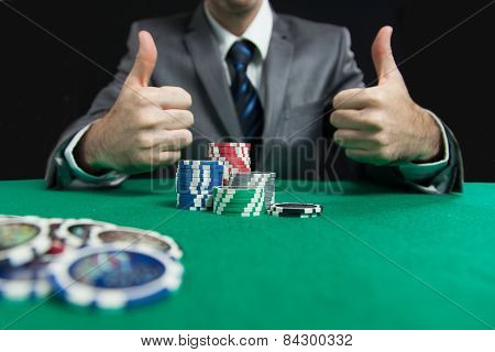Blackjack winner,a solid businessman, won all jackpots in blackjack and takes all the chips