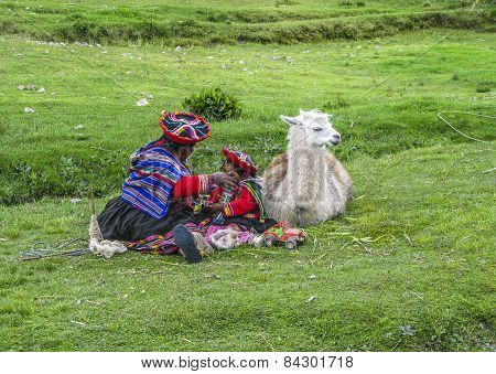 Indian Woman With Child And Lama Pose For Tourists In Cuzco