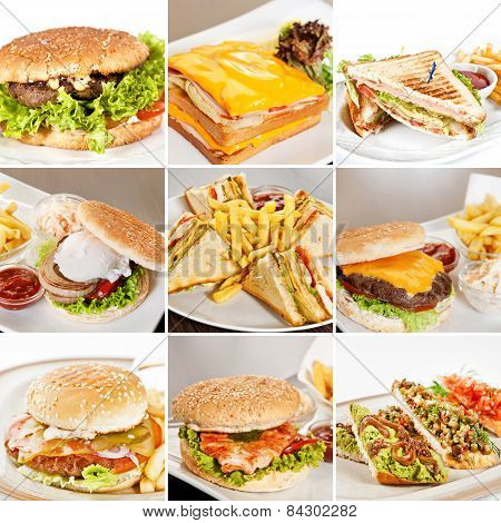Burgers And Sandwiches Collage