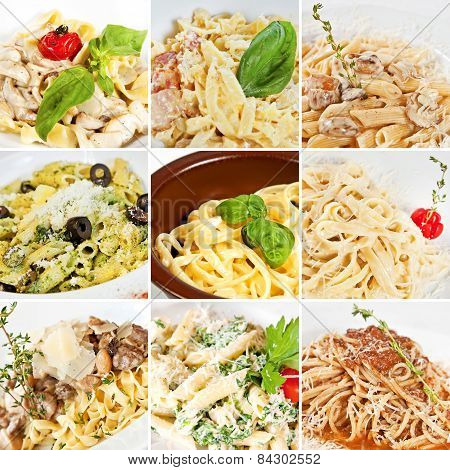 Various Pasta Collage
