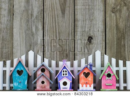 Colorful birdhouses by white picket fence