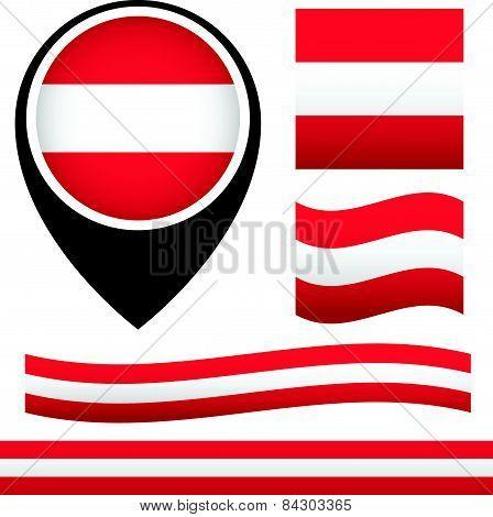 Austria Flag. Austria Ensign. Waving Austria Flag, Map Pin With Austria Flag. Österreich Flagge
