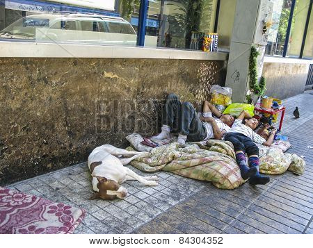 Homeless People Life And Sleep On The Road In Santiago, Chile