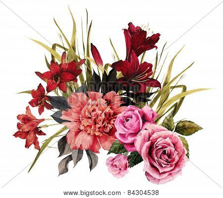 Bouquet Of Roses, Peonies And Liliesbouquet Of Roses, Peonies And Lilies