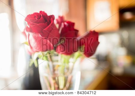 Beautiful Red Rose Bouquet On Vintage Background