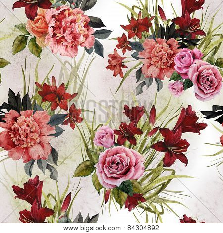 Seamless Floral Pattern With Roses Peonies And Lilies