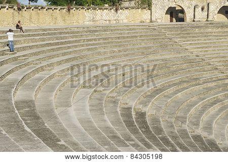 Amphitheater steps in Altos de Chavon village in La Romana, Dominican Republic.