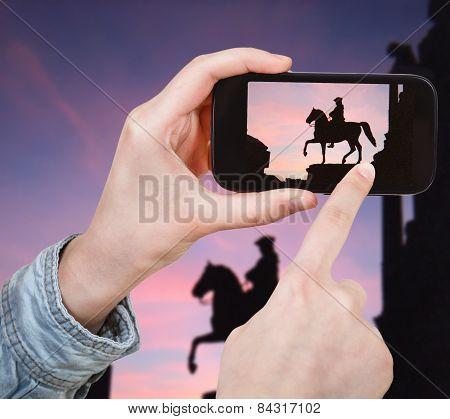 Tourist Taking Photo Of Maria Theresia Monument