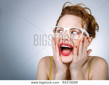 Portrait Of Funny Facial Expressive Woman Wearing Eyeglasses
