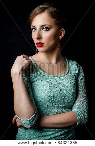 Pretty Young Woman Posing In Mint Green Dress