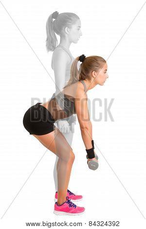 Woman Doing Dumbbell Deadlift