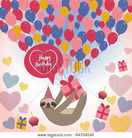 Three-toed Sloth On White Background. Happy Birthdaycard. Heart, Gift Box, Balloons, Birthday Cake,