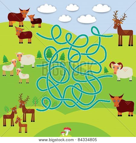Farm Animals - Sheep, Deer, Cow, Labyrinth Game For Preschool Children. Vector