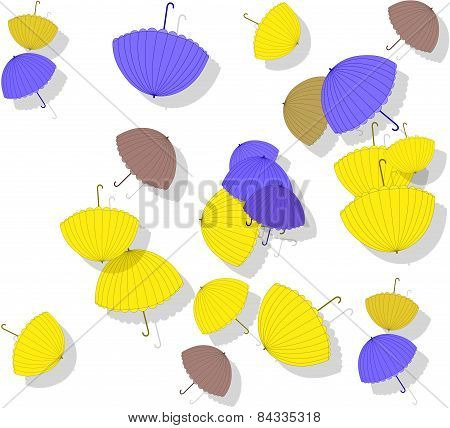Beautiful Pattern With Scattered Colorful Umbrellas