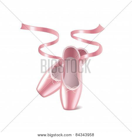 Ballet Shoes Isolated On White Vector