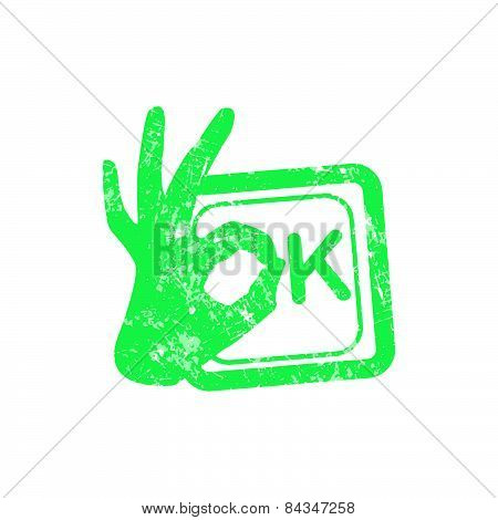 Ok Green Grunge Rubber Stamp