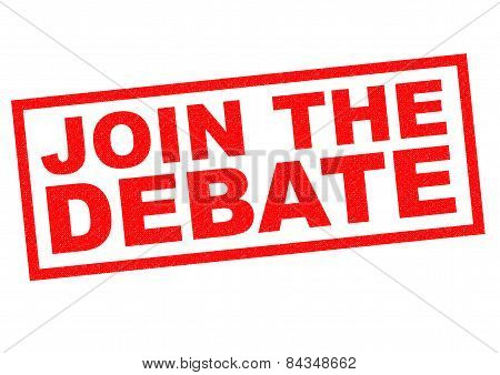 JOIN THE DEBATE red Rubber Stamp over a white background. poster
