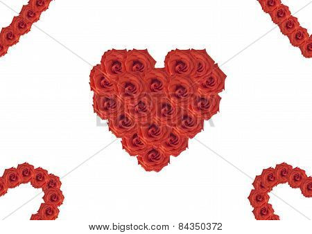 Seamless Background From Bouquets Of Roses In The Form Of Heart.
