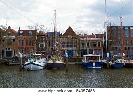Ships in the port of Dodrecht Netherlands
