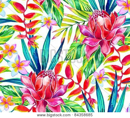 Seamless jungle tropic pattern with tropical flowers and leaves