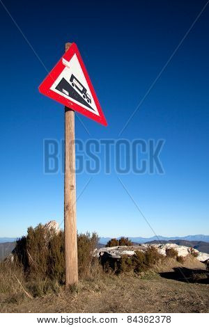 caution steep slopes on the road are a head poster