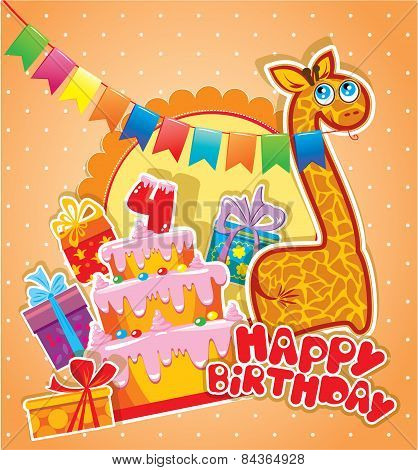 Baby Birthday Card With Girafe, Big Cake And Gift Boxes. Four Years Anniversary