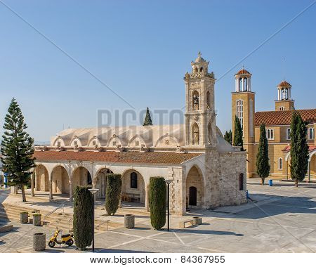 Churches On Central Square Of Small Town. Cyprus