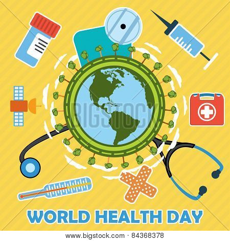 World Health Day Concept With Earth Globe.