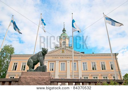 Pori. Finland. Old Town Hall and Pori Bear