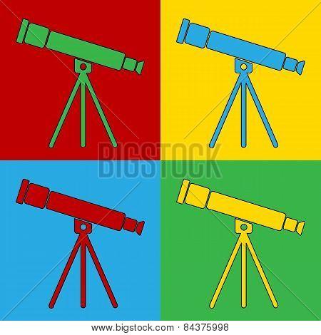 Pop art telescope symbol icons. Vector illustration. poster