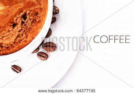 Coffee Cup And Roasted Coffee Beans Isolated On A White Background, Close Up. Coffee Espresso. Cup O