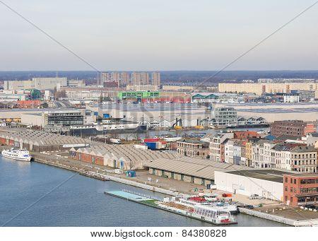 Warehouses By The River Scheldt In The Port Of Antwerp, Belgium