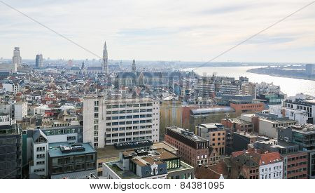 Aerial View On The Center Of Antwerp, Belgium