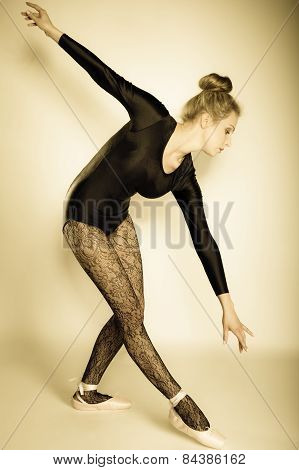 Graceful beautiful woman ballet dancer full length studio shot sepia vintage aged tone poster