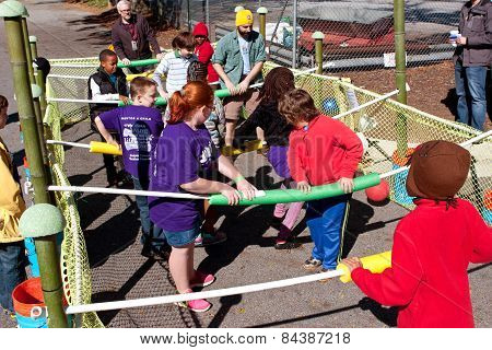 People Play Human Foosball At Fair