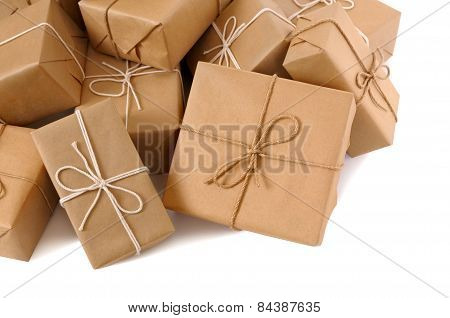 Untidy Pile Of Brown Paper Parcels