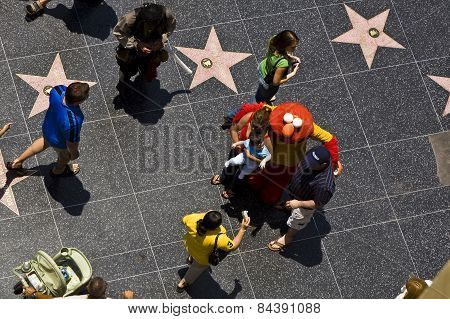 People At The Walk Of Fame In Hollywood