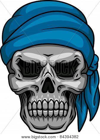 Pirate skull in blue bandana