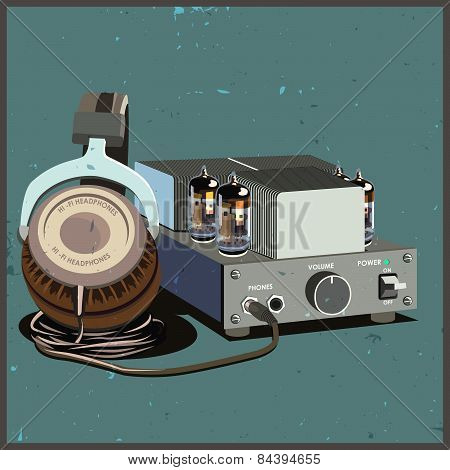 Retro Headphones And Amplifier