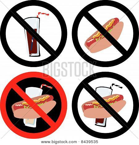 Vector Illustration of four No Food or Drink Signs. See my others in this series. poster