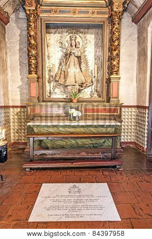 Altar With Mary At Carmel Mission