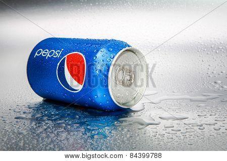 SABAH, MALAYSIA - March 08, 2015: Pepsi can on metal background.SABAH, MALAYSIA - March 08, 2015: Pe
